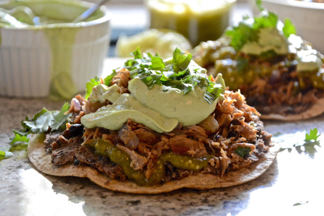 Smoked Pork Tostadas with Avocado & Cilantro Lime Cream