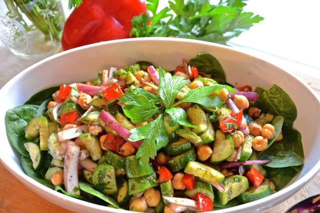 Cucumber & Garbanzo Balsamic Salad