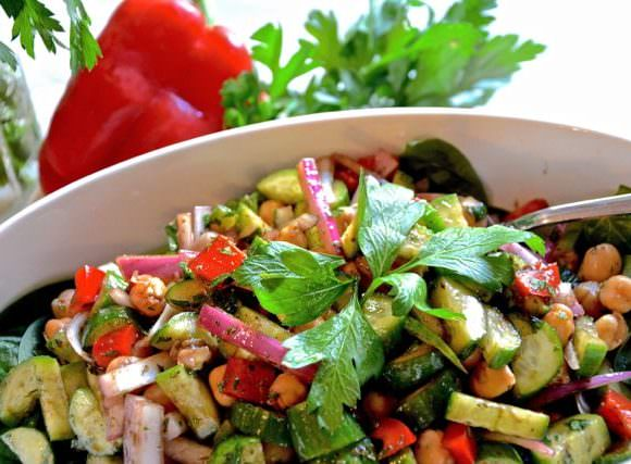 Cucumber & Garbanzo Bean Balsamic Salad