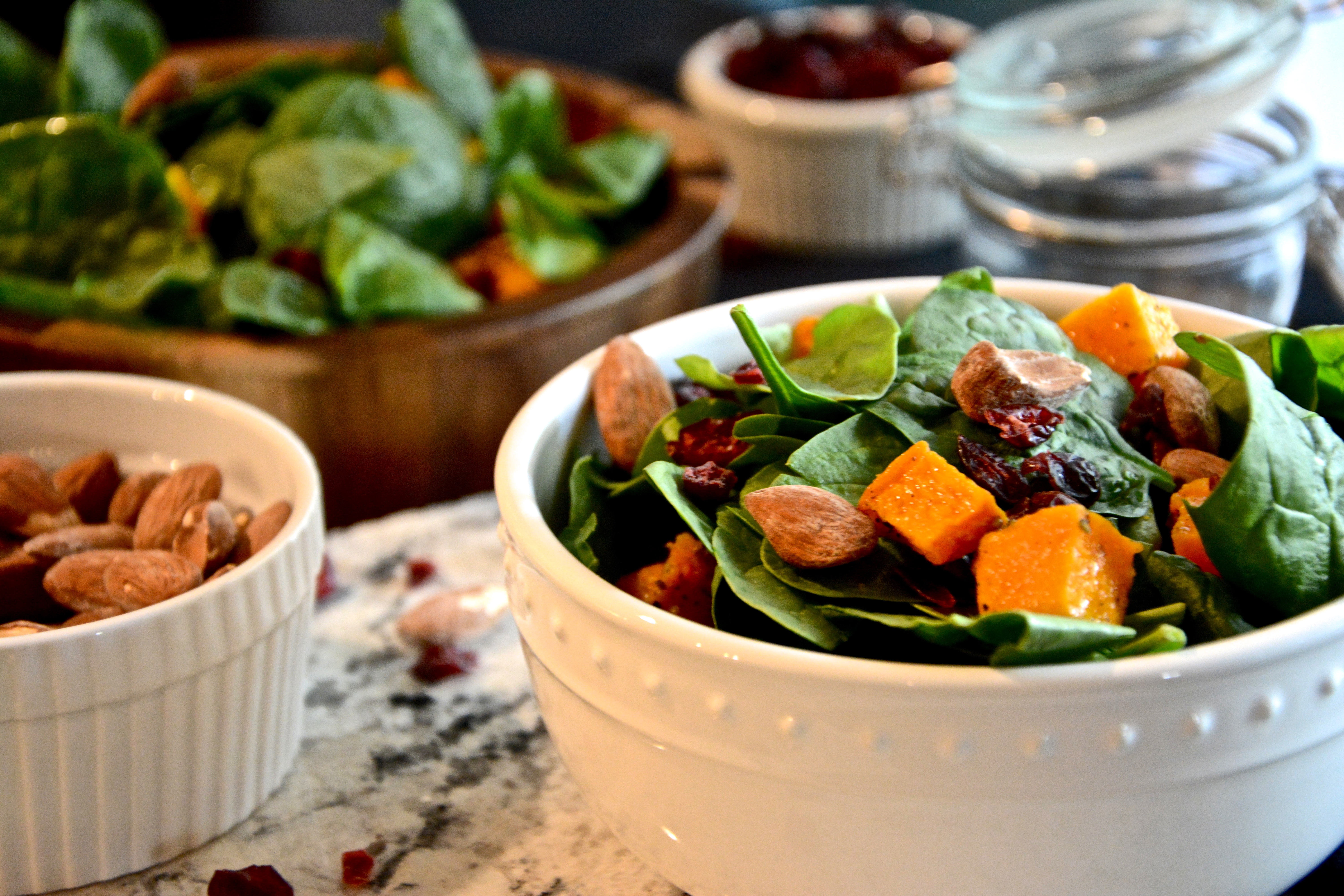 Autumn Salad with Butternut Squash and Maple Balsamic Vingairette
