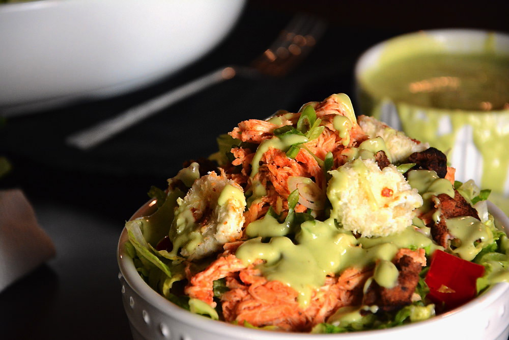 Buffalo Chicken Salad with Goat Cheese Croutons 1