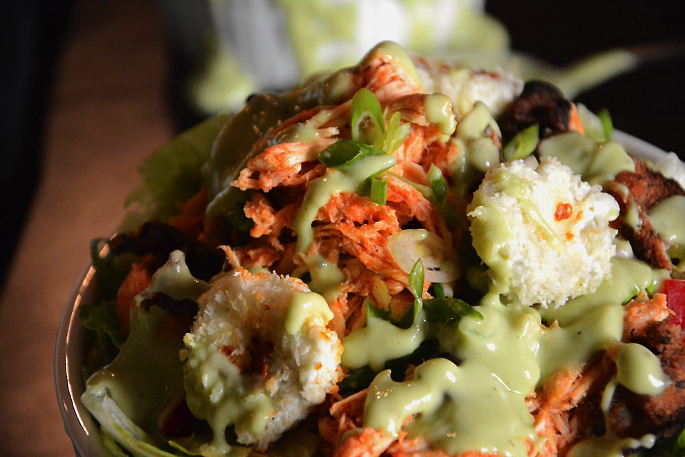 Buffalo Chicken Salad with Goat Cheese Croutons close up