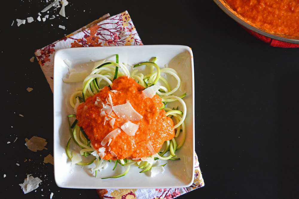 Roasted-Red-Pepper-Alfredo-with-Zucchini-Noodles-1