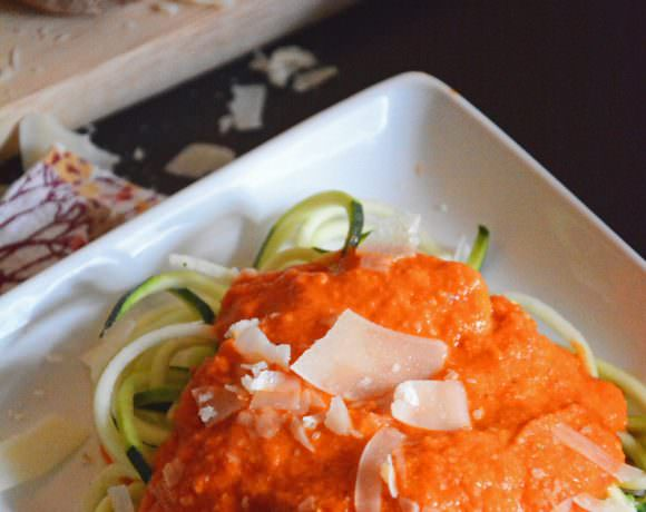 Roasted Red Pepper Alfredo with Zucchini Noodles