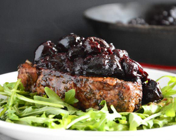 Sage Pork Chops with Cherry Balsamic Glaze