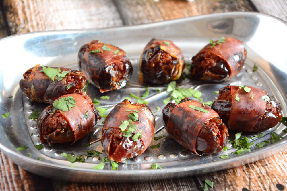 Chorizo Stuffed Prosciutto Wrapped Dates