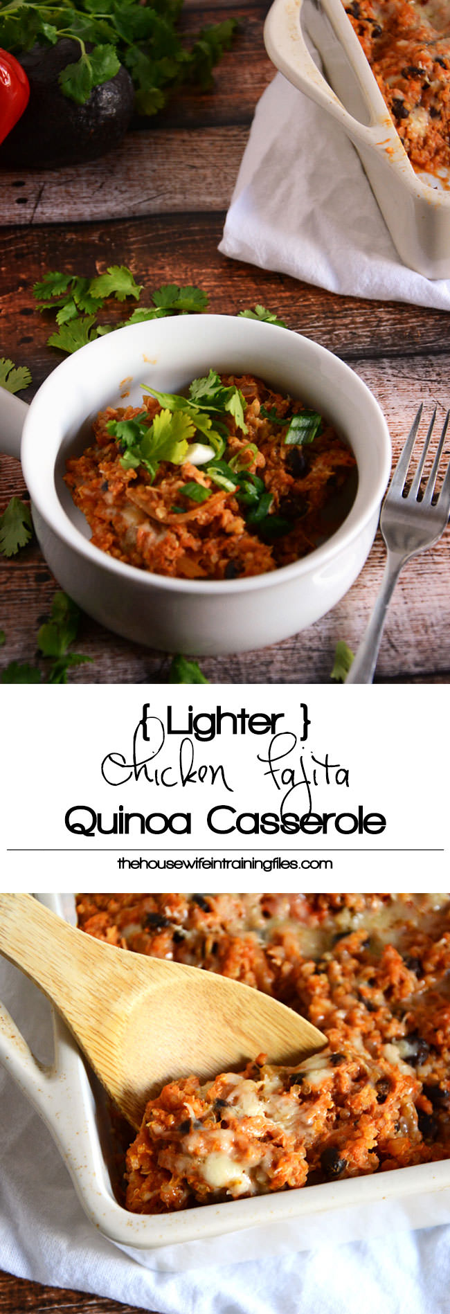 All the flavors of your favorite Tex Mex dish but wrapped into a quinoa dish! This Lighter Chicken Fajita Casserole is a sync to throw together, making it perfect for busy nights! #quinoa #glutenfree #mexican #texmex