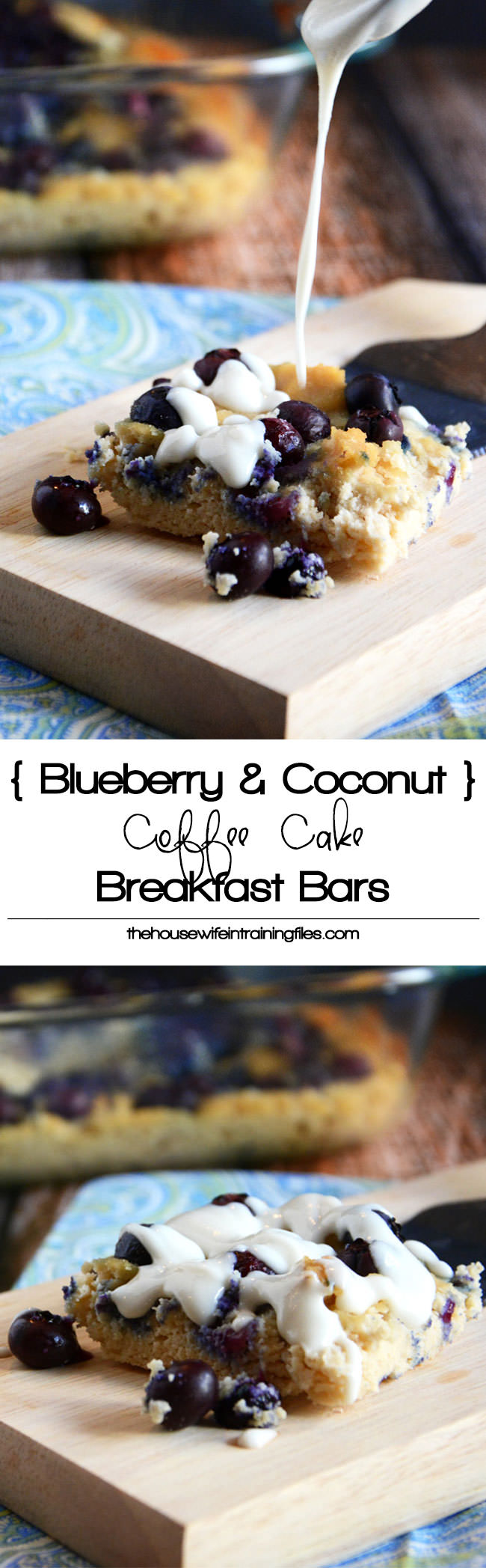 Juicy blueberries and creamy coconut butter make these soft coconut coffee cake bars so delicious! #paleo #glutenfree #healthy #breakfastbars