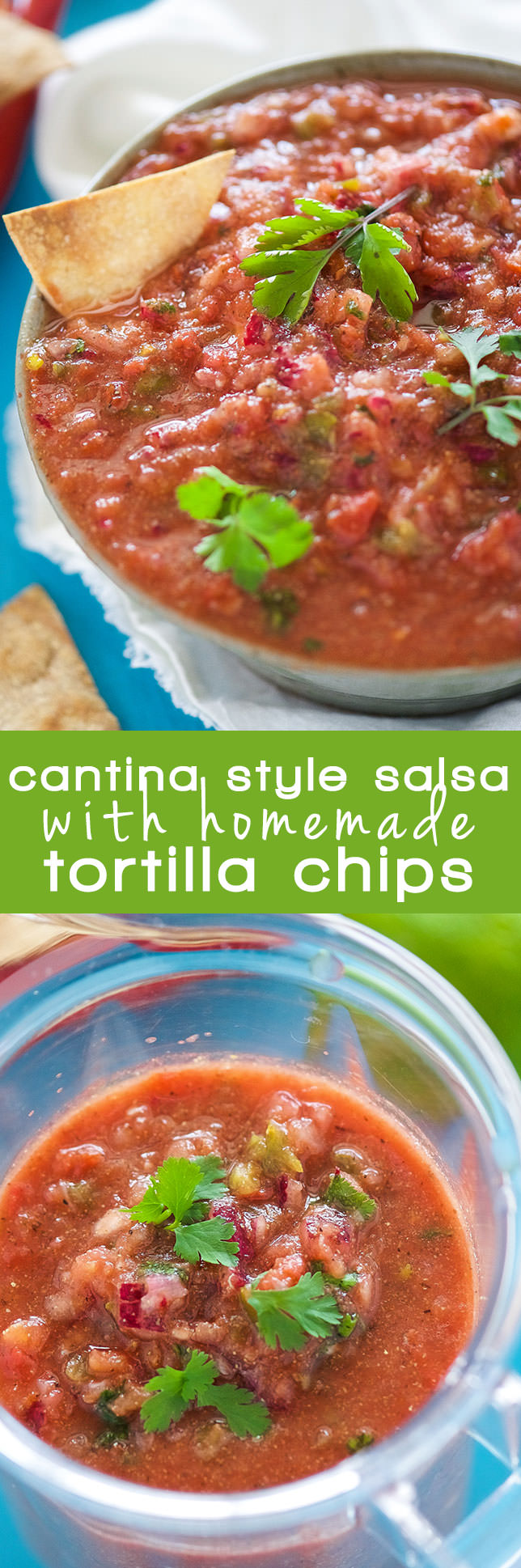 With fresh ingredients, this simple and delicious cantina style salsa with homemade corn tortilla chips comes together quickly for a tasty snack!