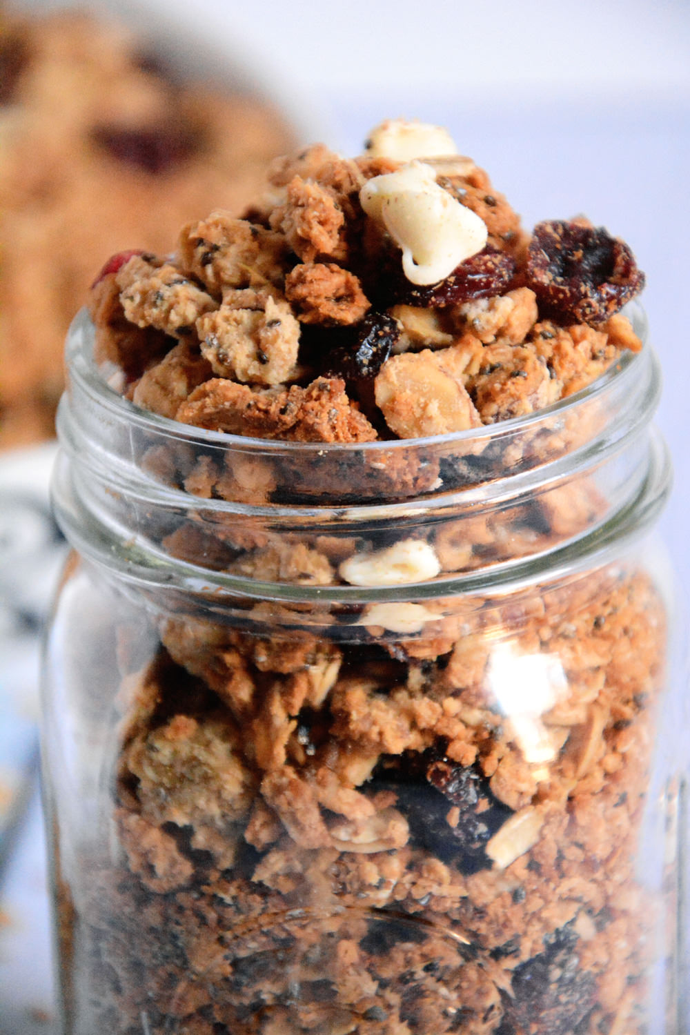 A naturally sweetened granola with tart cranberries and white chocolate morsels are the perfect snack or breakfast!