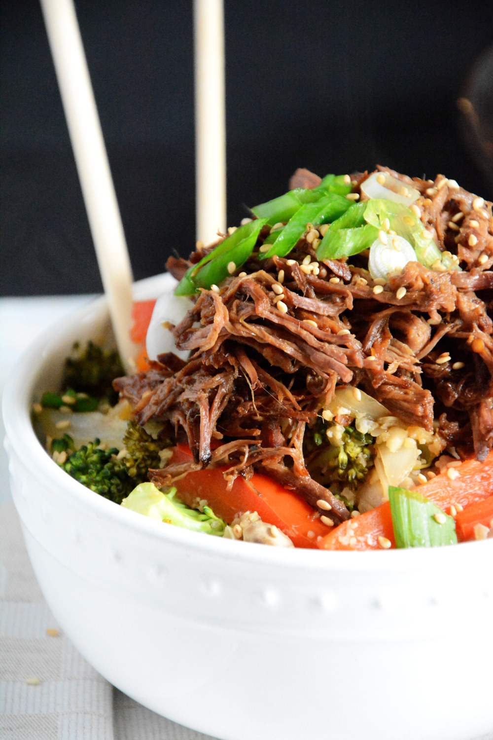 {Slow Cooker} Honey-Soy Asian Beef with Cauliflower Fried Rice