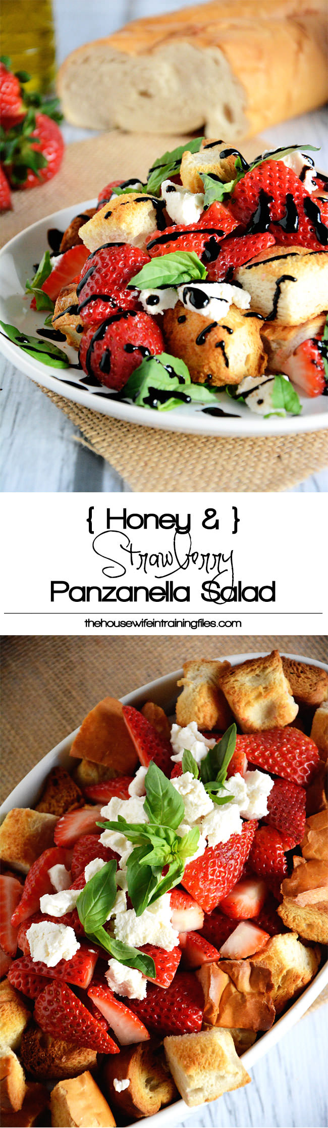 A fresh twist on a panzanella salad with strawberries, honey goat cheese, basil, croutons and a balsamic drizzle.