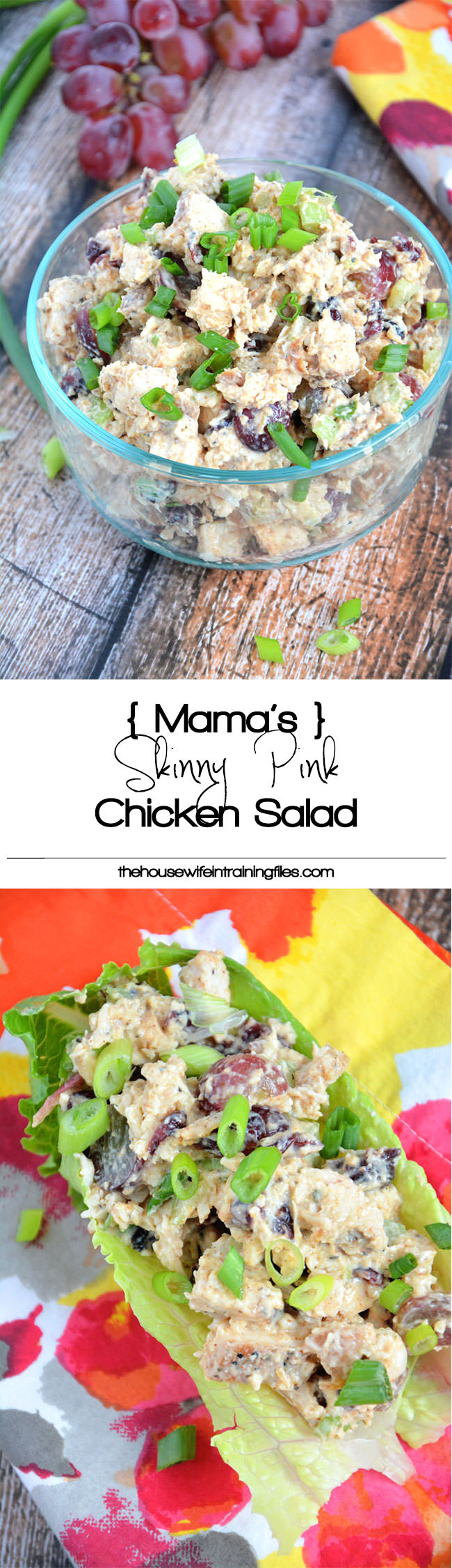 A sweet and smoky chicken salad, made lighter with greek yogurt, cranberries, celery and grapes that pairs wonderful with a croissant, whole grain wrap or with lettuce for a guilt free meal!