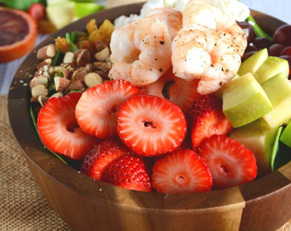 Strawberry-Almond Shrimp Salad with Blood Orange Vinaigrette