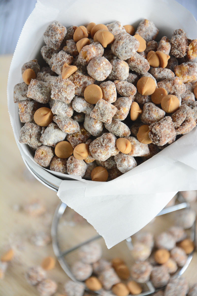 Peanut Butter Puppy Chow gets a makeover with Captain Crunch Cereal and peanut butter chips for an easy make ahead dessert!