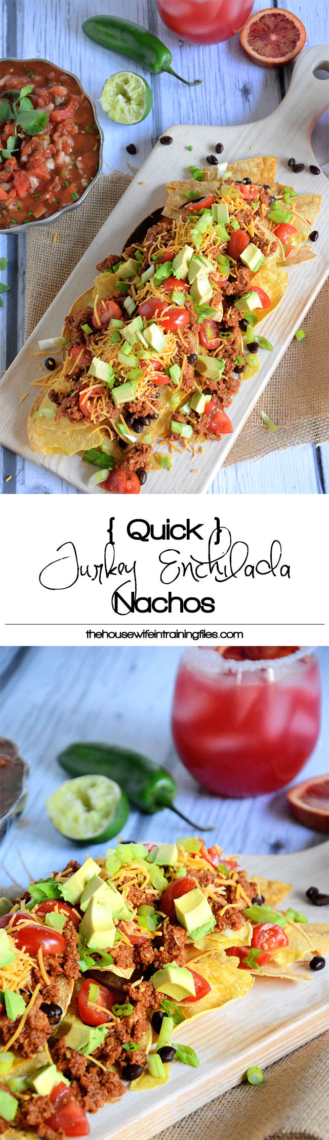 Quick and flavorful Enchilada Nachos with spiced, lean ground turkey makes these loaded nachos a crowd pleaser!