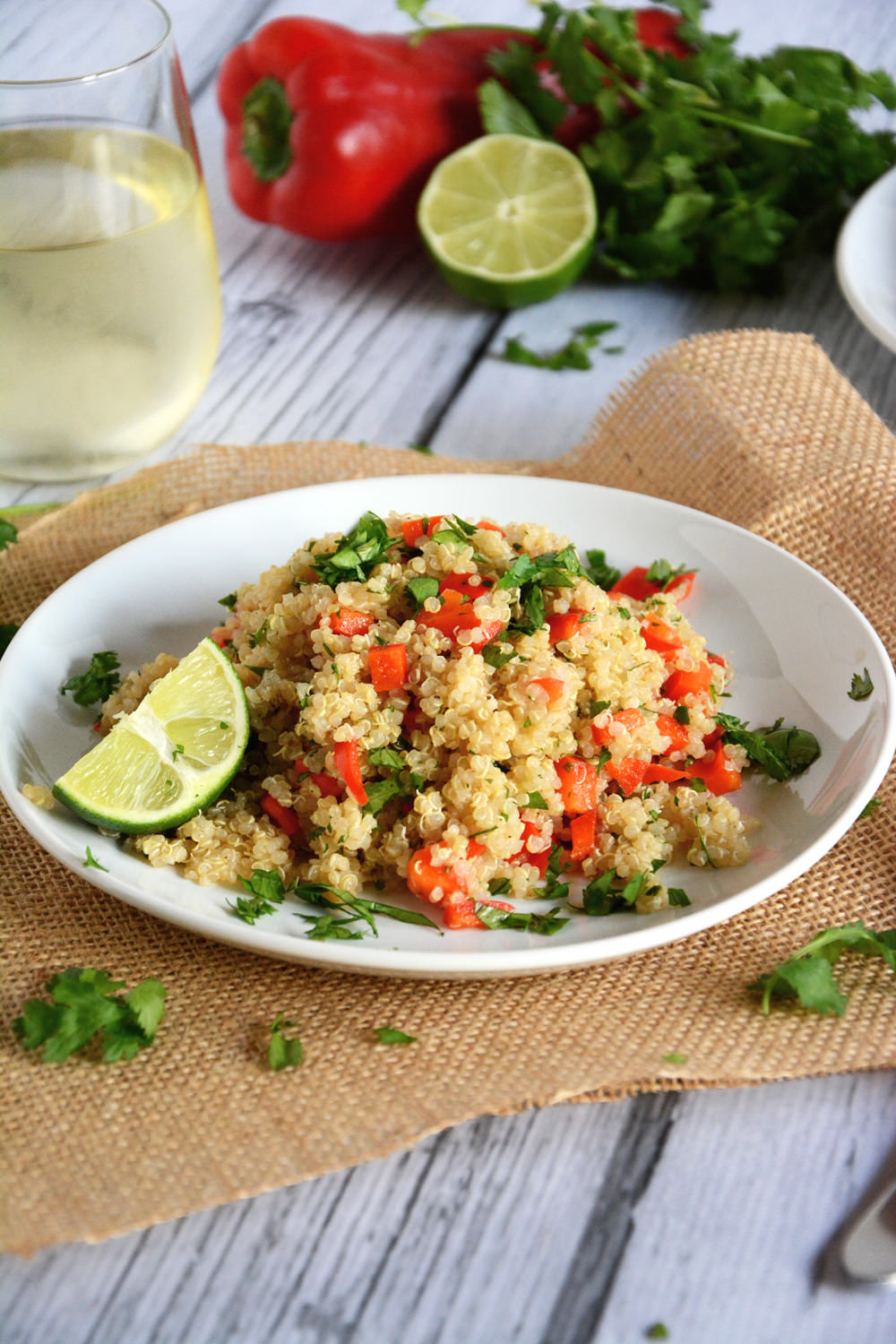 An easy and nutritious, nutty quinoa salad packed with red pepper and lime and is the perfect make ahead meal!