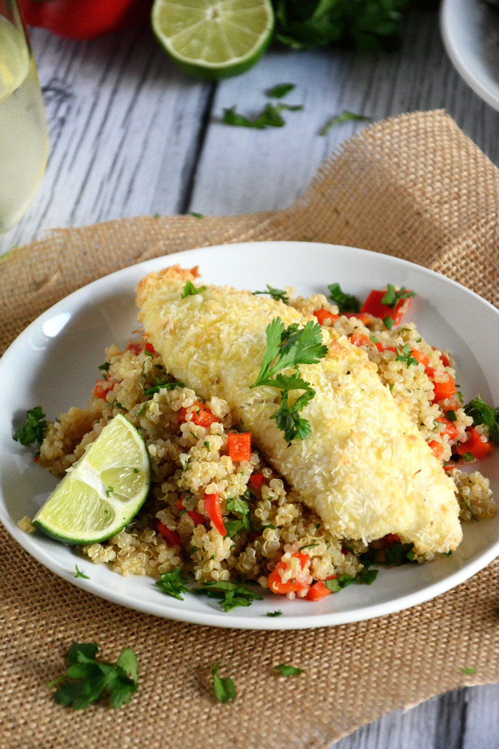 Tender tilapia filets with a sweet and spicy crust of macadamia nuts, coconut and lime!