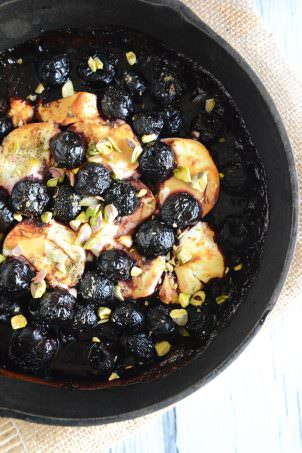 Goat Cheese Fundido with Cherries, Balsamic and Honey Drizzle