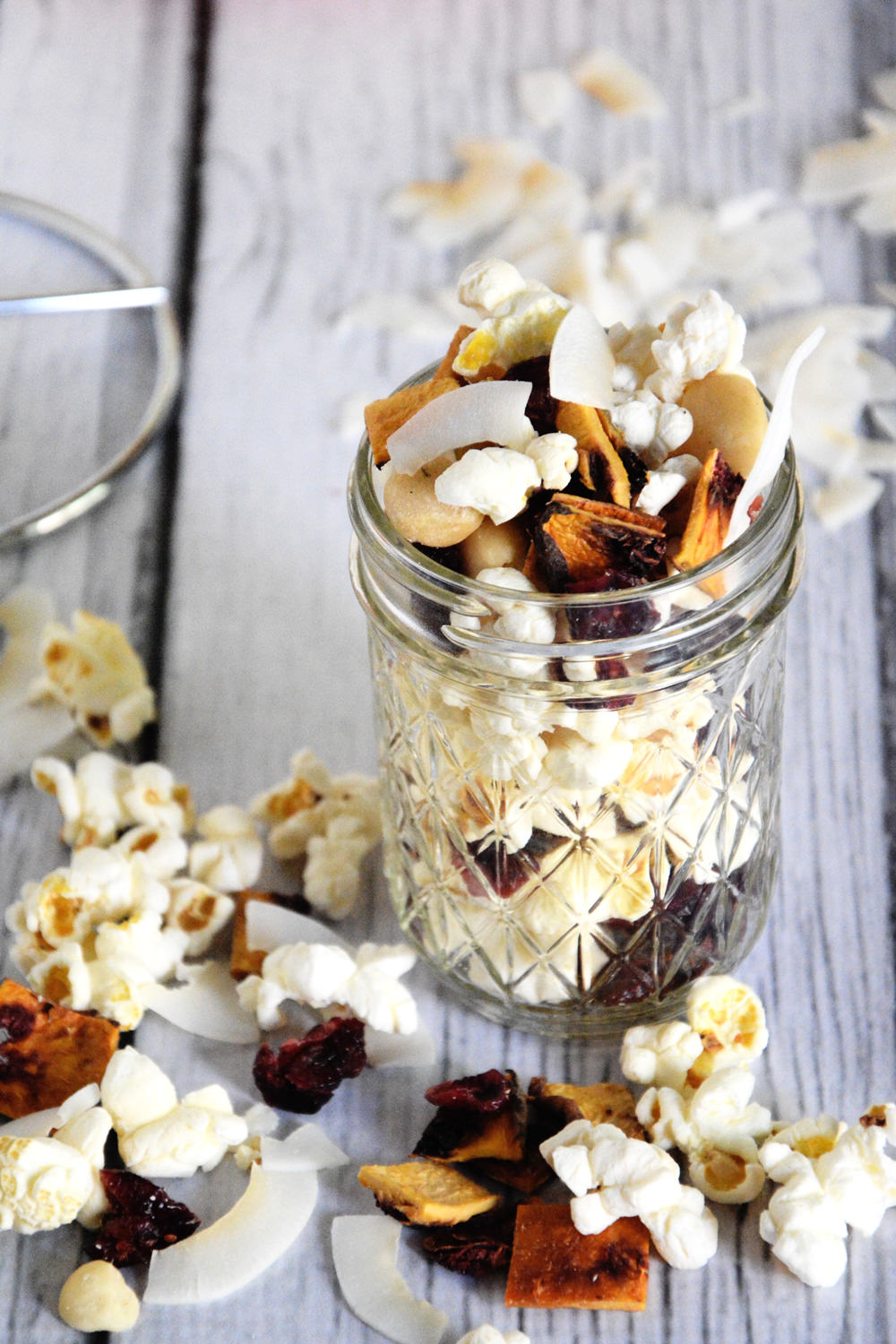Peach Colada Popcorn Snack Mix is a sweet and salty snack that takes no time to throw together and will satisfy any snack attack!