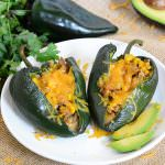 Roasted Green Chile Chicken Sausage & Corn Stuffed Poblano Peppers