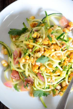 Roasted Corn & Zucchini Salad with Chili Lime Vinaigrette | The Housewife in Training Files #salad #corn #spiralized #glutenfree #healthy