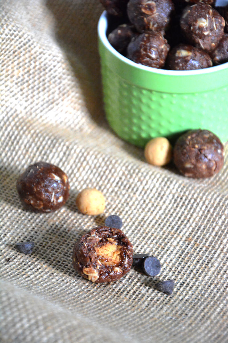 Curb any chocolate peanut butter cup craving with these miniature protein bites that are healthy and come together in a jiffy!