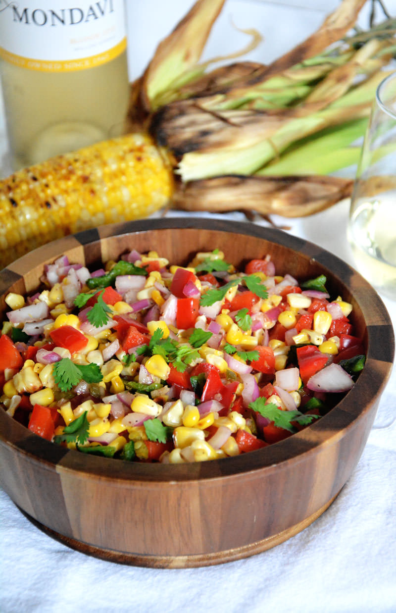 Roasted Corn & Poblano Salsa | A sweet & spicy salsa made with corn ...