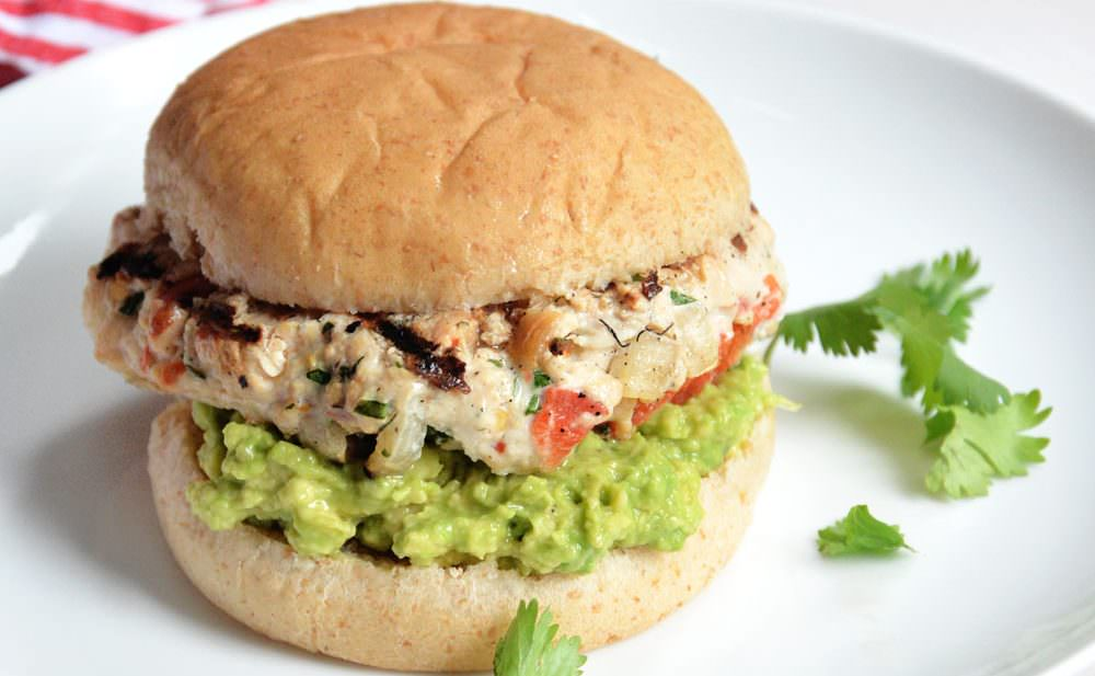 Avocado and Chile Lime Chicken Burges - Lean chicken burgers with red peppers and lime! #healthy #paleo #glutenfree #burgers
