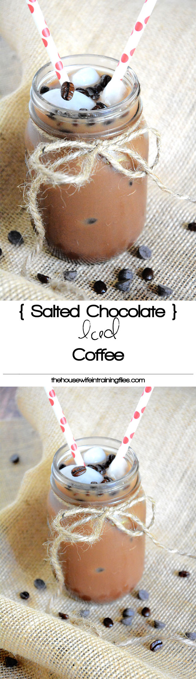 A coffee house inspired drink that is healthier and easier on your wallet, yet bursting with espresso, chocolate and a sprinkle of salt! #icedcoffee #glutenfree #dairyfree #chocolate