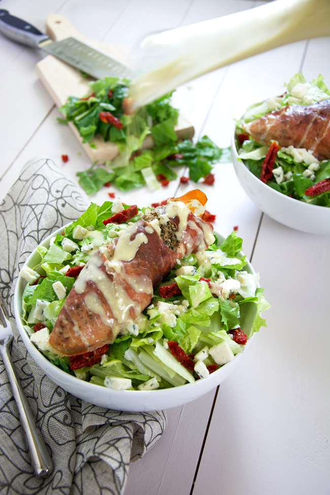 Prosciutto Wrapped Chicken Salad with Blue Cheese Vinaigrette | A wow worthy salad that comes together quickly and is so simple! #salad #bluecheese #paleo #glutenfree