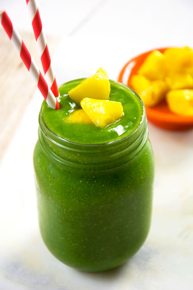 Cucumber Tropical Green Smoothie | Take a trip to the tropics with this tropical, green smoothie with hydrating cucumber, mango and fresh pineapple to help energize your day! #smoothie #tropical #healthy