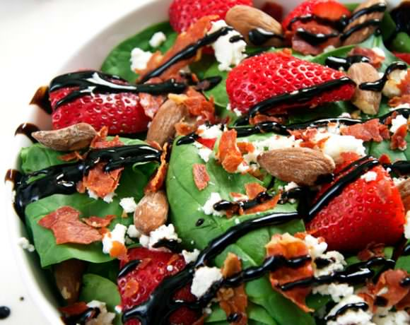 Goat Cheese, Strawberry and Prosciutto Salad with Balsamic Vinaigrette