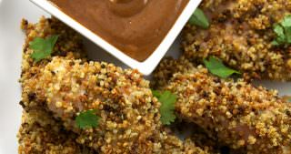 Ranch Quinoa Encrusted Chicken Fingers with BBQ Mustard