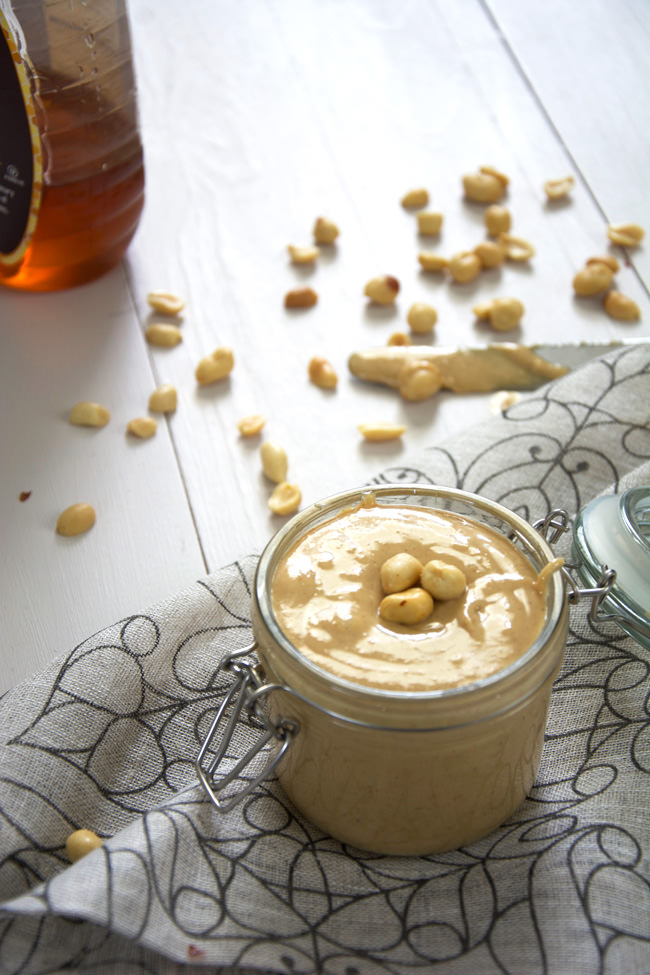 Salty and sweet, homemade peanut butter couldn't not be any simpler  when made with only three ingredients - peanuts, honey and coconut oil! No need to buy another jar as is ready in only a few minutes!