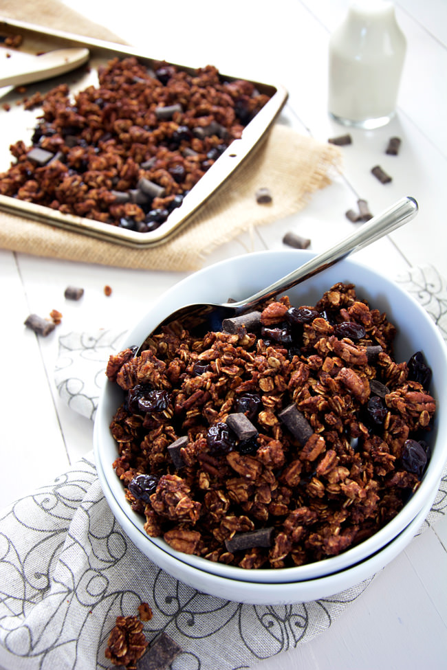 ... chunks, cherries and pecans make this skinny granola a decedent treat