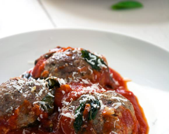 Goat Cheese Stuffed Meatballs with Rustic Tomato Basil Sauce