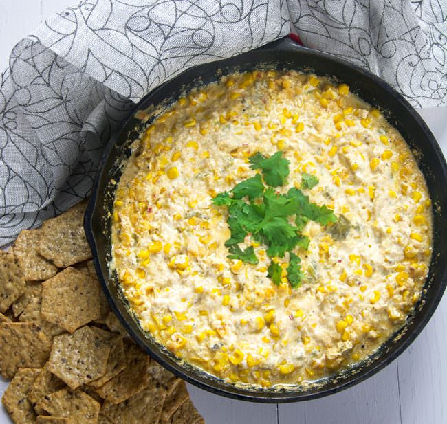 A sweet and spicy dip made with chipotle gouda, sweet corn, roasted hatch chiles and greek yogurt! Simple to through together, yet full of flavor!