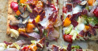 Maple Roasted Vegetable & Crispy Bacon Flatbread for the Fabulous Flatbread Challenge!
