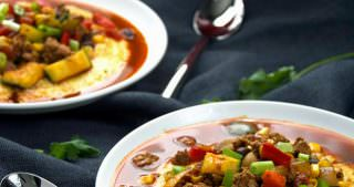 Turkey Chorizo & Vegetable Chili over Pepper Jack Polenta Bowls