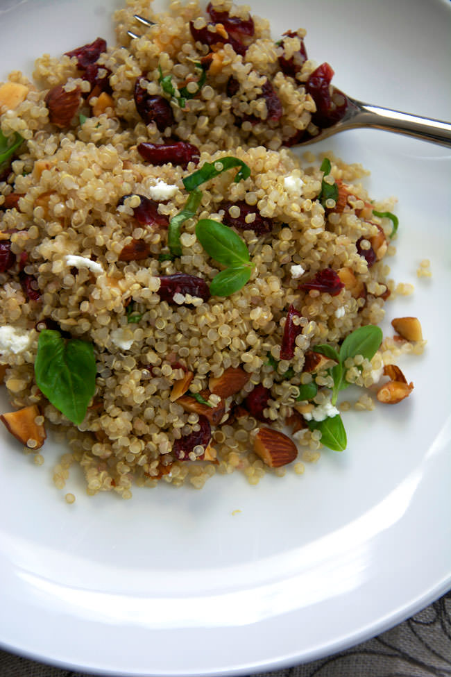 simple, make ahead quinoa salad filled with tart cranberries, smoked ...