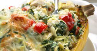 Spinach & Artichoke Dip Stuffed Spaghetti Squash
