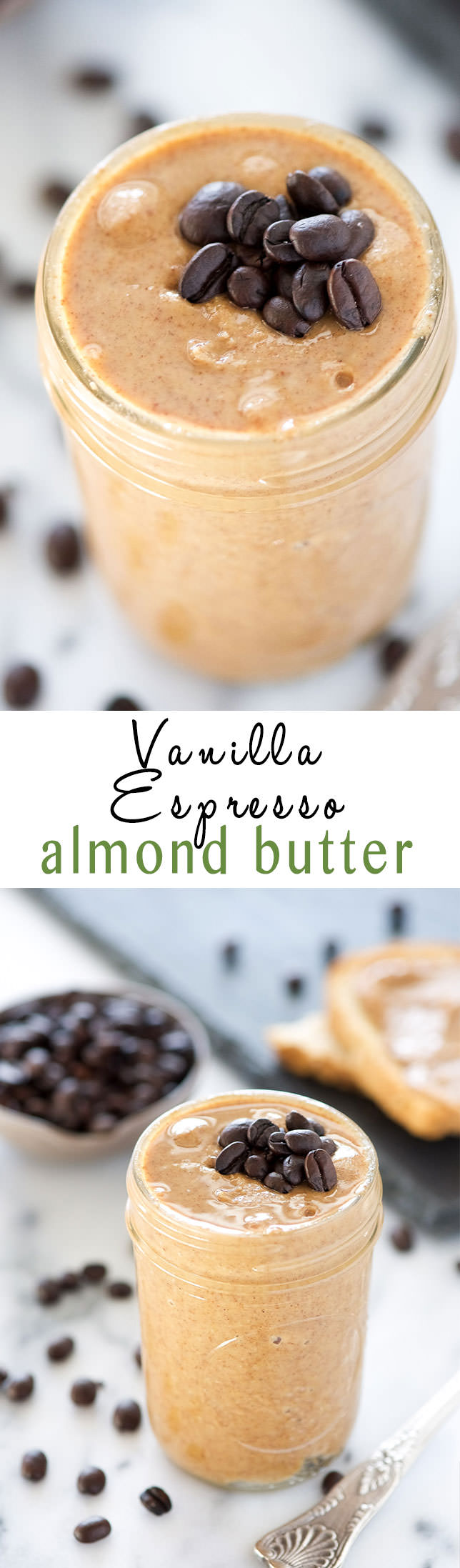 Vanilla Espresso Almond Butter is a homemade version of a store bought favorite! Roasted almonds mixed with vanilla beans and espresso for an energy charged almond butter!