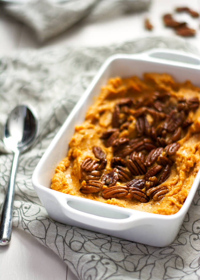 This Smoked Gouda and Sweet Potato Casserole with Spiced Pecans is the perfect fall side dish as it is made lighter with cauliflower but is full of sweet and spicy flavor! #casserole #sweetpotatoes #healthy #cauliflower