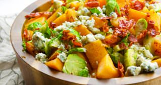 Sautéed Brussels Sprouts & Butternut Squash Skillet with Prosciutto and Blue Cheese