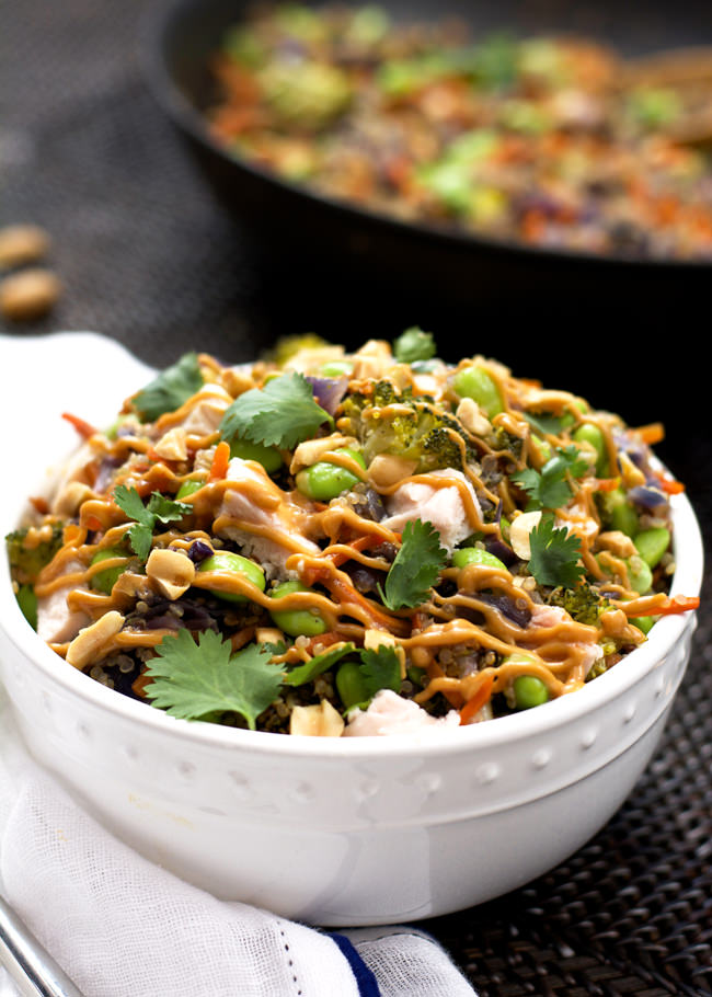 One Pot Thai Quinoa Bowl With Chicken Spicy Peanut Sauce