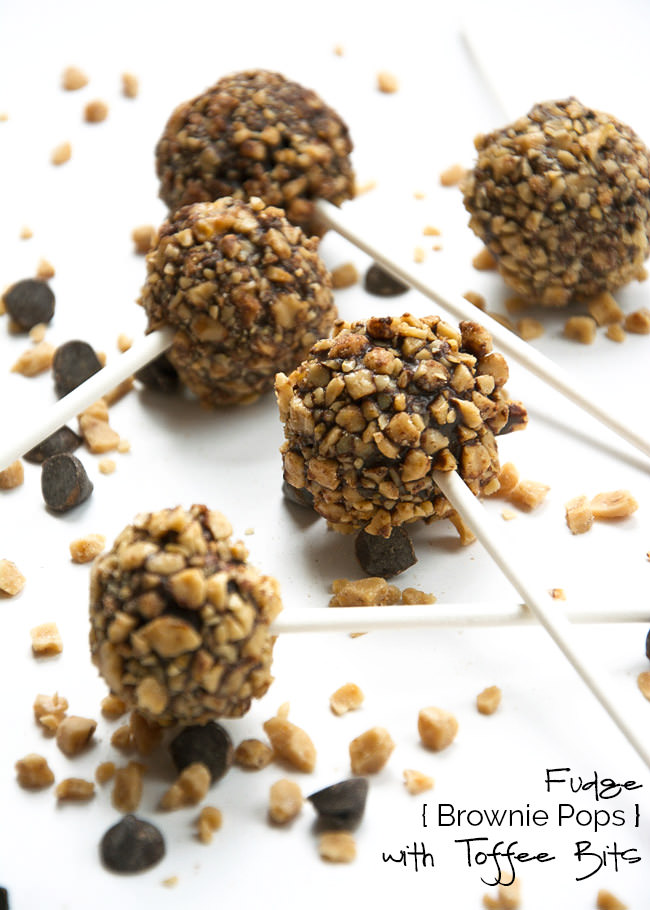 Rich, fudge brownie pops that are easy to make and rolled in buttery toffee bits for a fun and festive dessert!