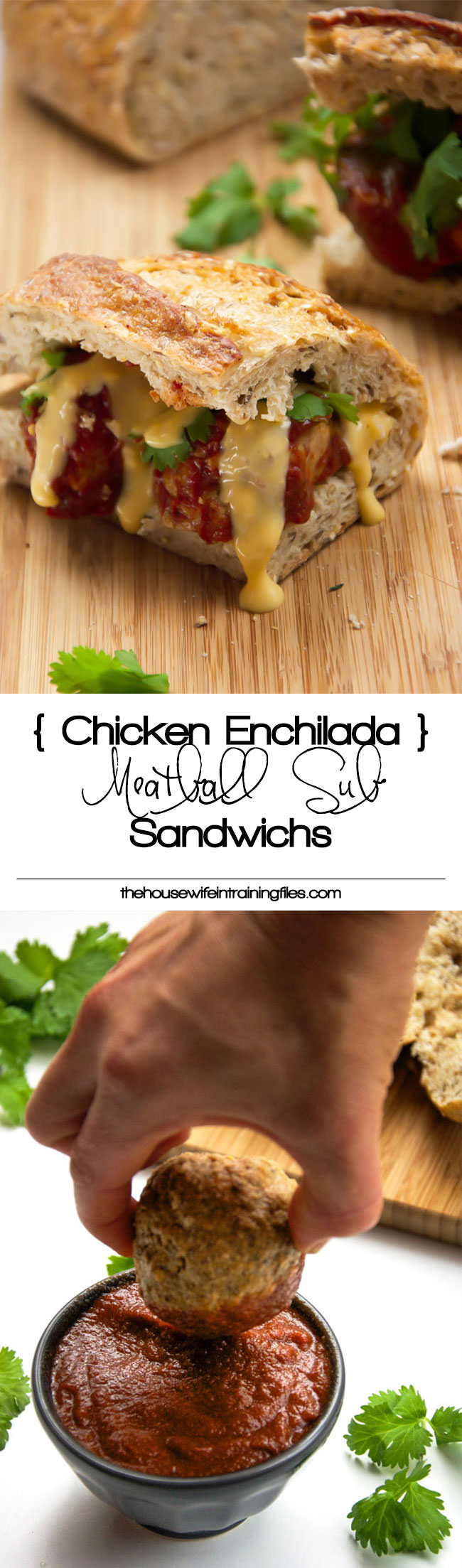 {Slow Cooker} Enchilada Chicken Meatball Sub Sandwiches madeover with lean, ground chicken, enchilada sauce, multigrain rolls and dipped into a skinny queso dip! And they are cooked in the slow cooker to make dinner a breeze!