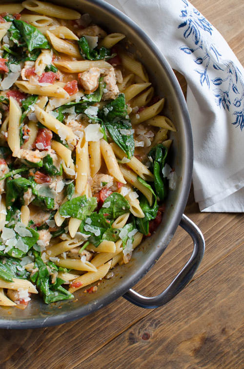 Chicken and Spinach Skillet Pasta