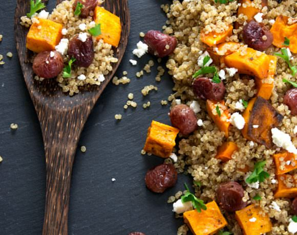 Caramelized Butternut Squash Quinoa Salad with Goat Cheese and Roasted Grapes